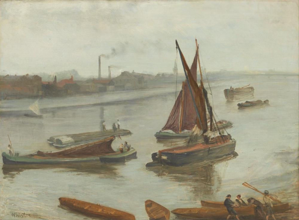 James Abbott McNeill Whistler, Gri ve Gümüş Eski Battersea Reach, Kanvas Tablo, James Abbott McNeill Whistler, kanvas tablo, canvas print sales
