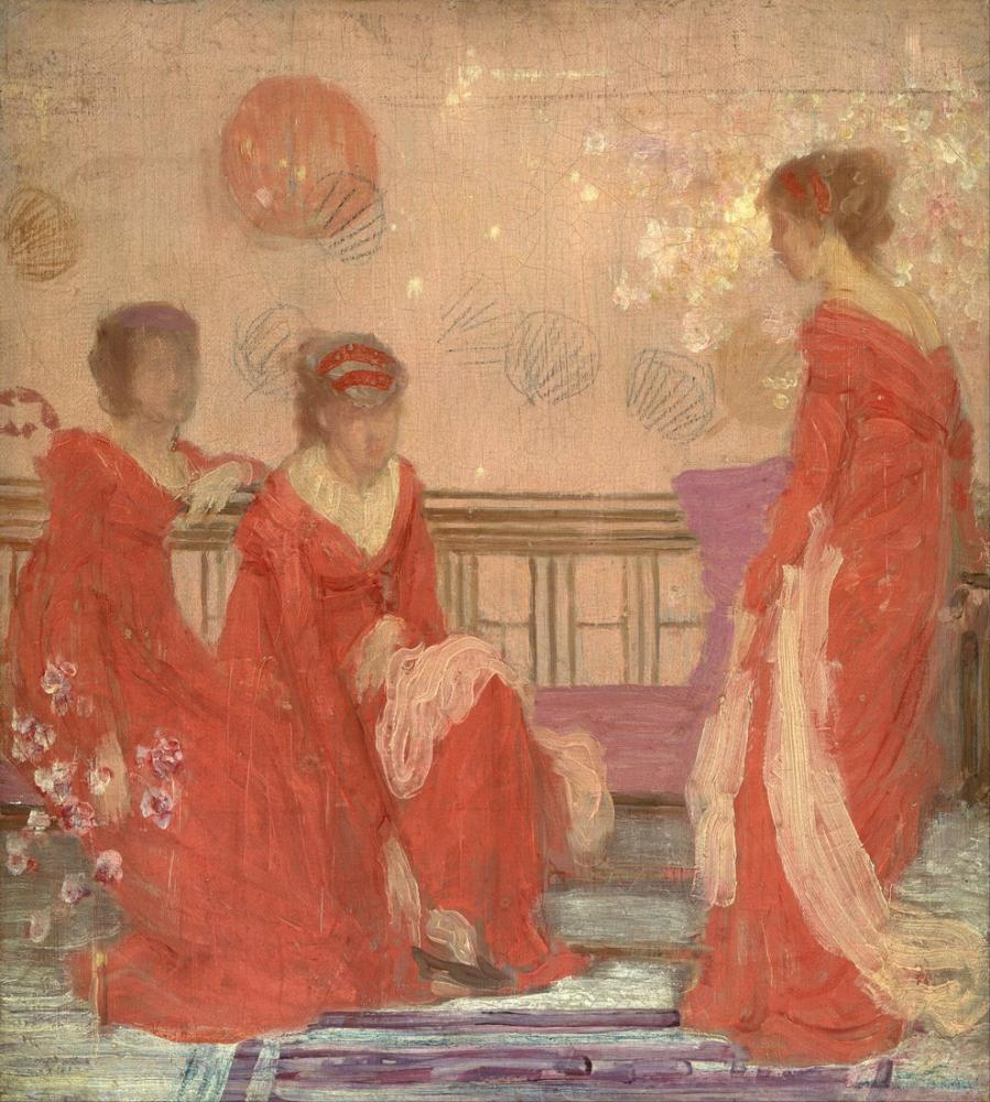 James Abbott McNeill Whistler, Et Rengi ve Kırmızıda Uyum, Figür, James Abbott McNeill Whistler, kanvas tablo, canvas print sales
