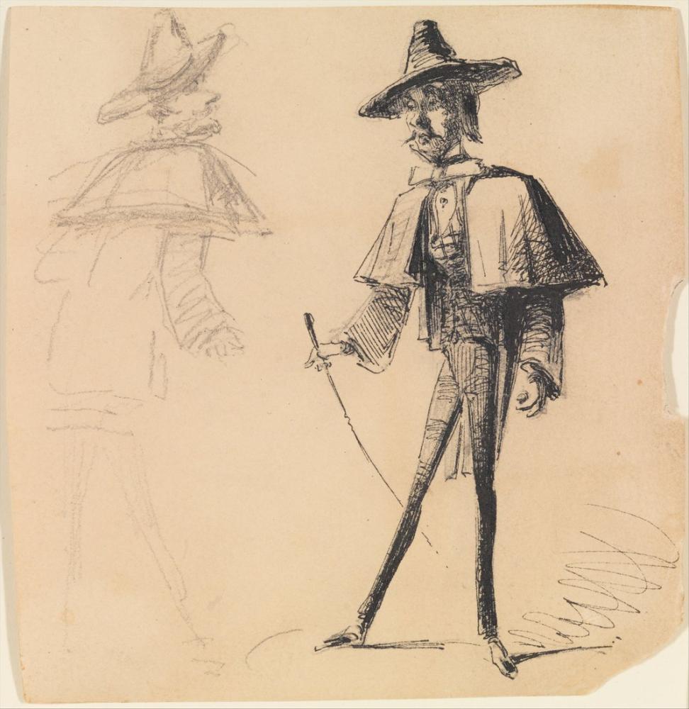 James Abbott McNeill Whistler, Sketchbook tan Gelen Bastonlu Adam, Figür, James Abbott McNeill Whistler, kanvas tablo, canvas print sales