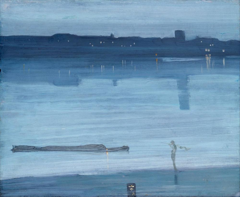 James Abbott McNeill Whistler, Gece Manzarası Mavi ve Gümüş Chelsea, Kanvas Tablo, James Abbott McNeill Whistler, kanvas tablo, canvas print sales