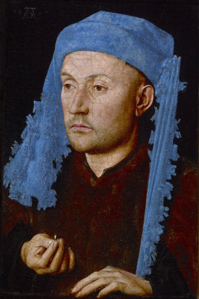 Jan van Eyck Mavi Şapkalı Bir Adam, Kanvas Tablo, Jan van Eyck, kanvas tablo, canvas print sales