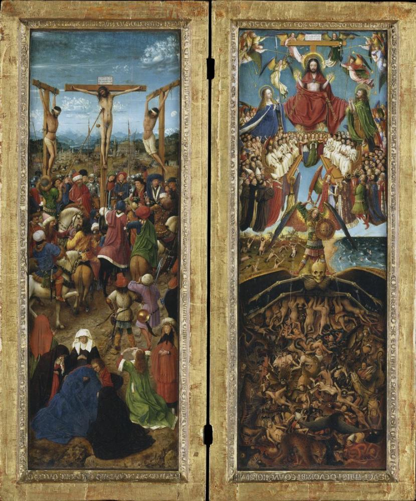 Jan van Eyck Çarmıha Gerilme Son Yargı, Kanvas Tablo, Jan van Eyck, kanvas tablo, canvas print sales