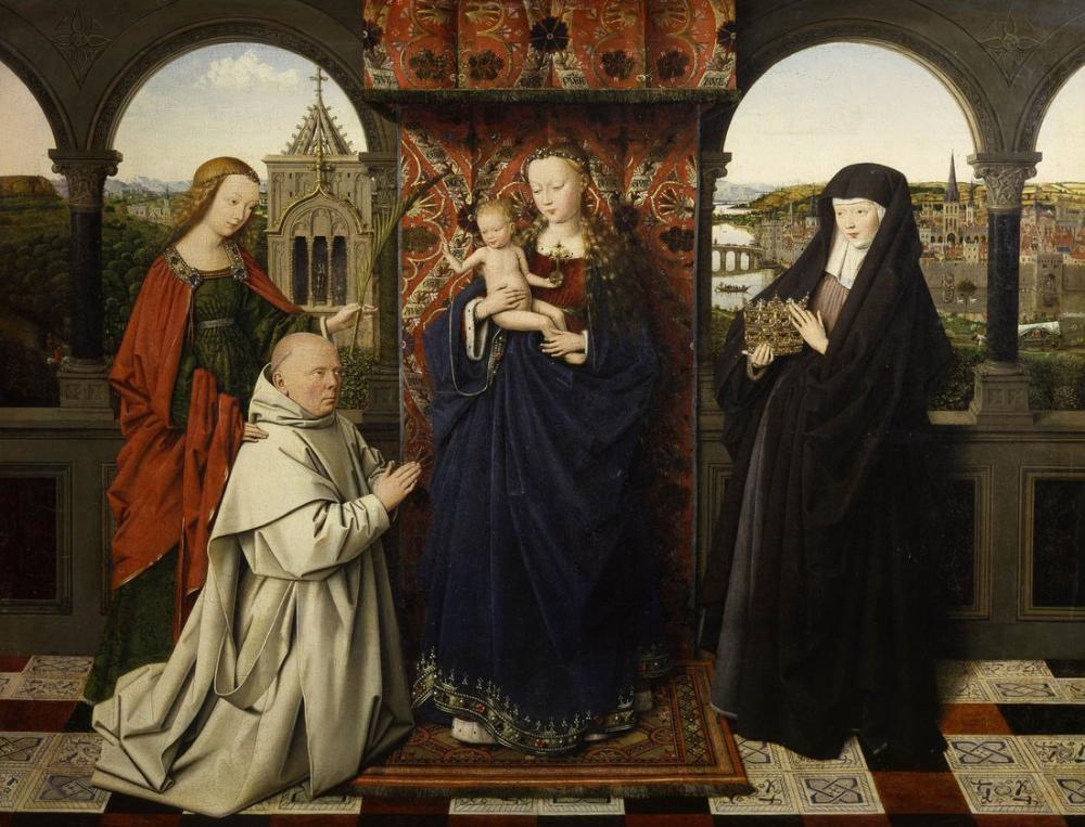 Jan van Eyck Virgin And Child With Saints And Donor, Canvas, Jan van Eyck, kanvas tablo, canvas print sales