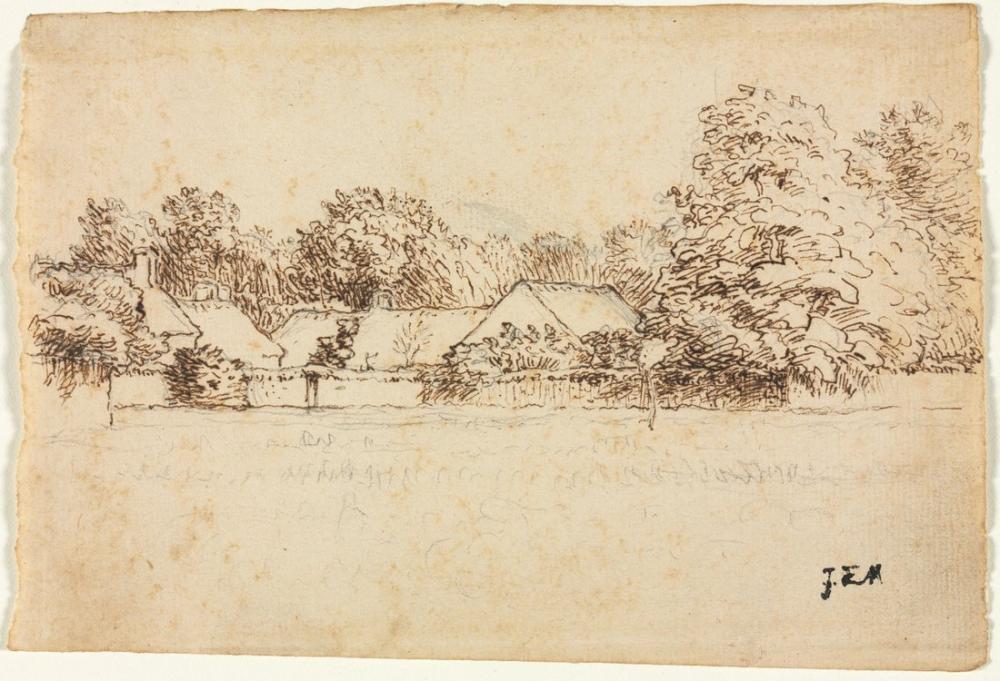 Jean François Millet Cottages, Canvas, Jean François Millet, kanvas tablo, canvas print sales