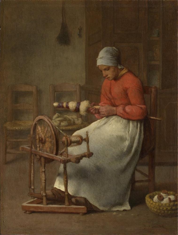 Jean François Millet Femme Filature, Canvas, Jean François Millet, kanvas tablo, canvas print sales