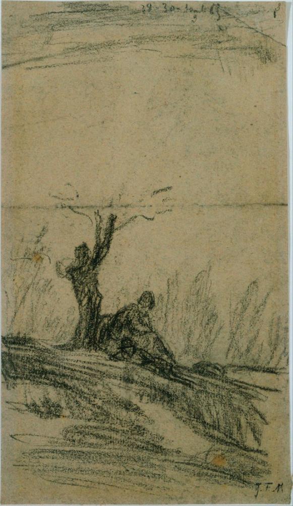 Jean François Millet Figure Seated Under A Tree, Canvas, Jean François Millet, kanvas tablo, canvas print sales