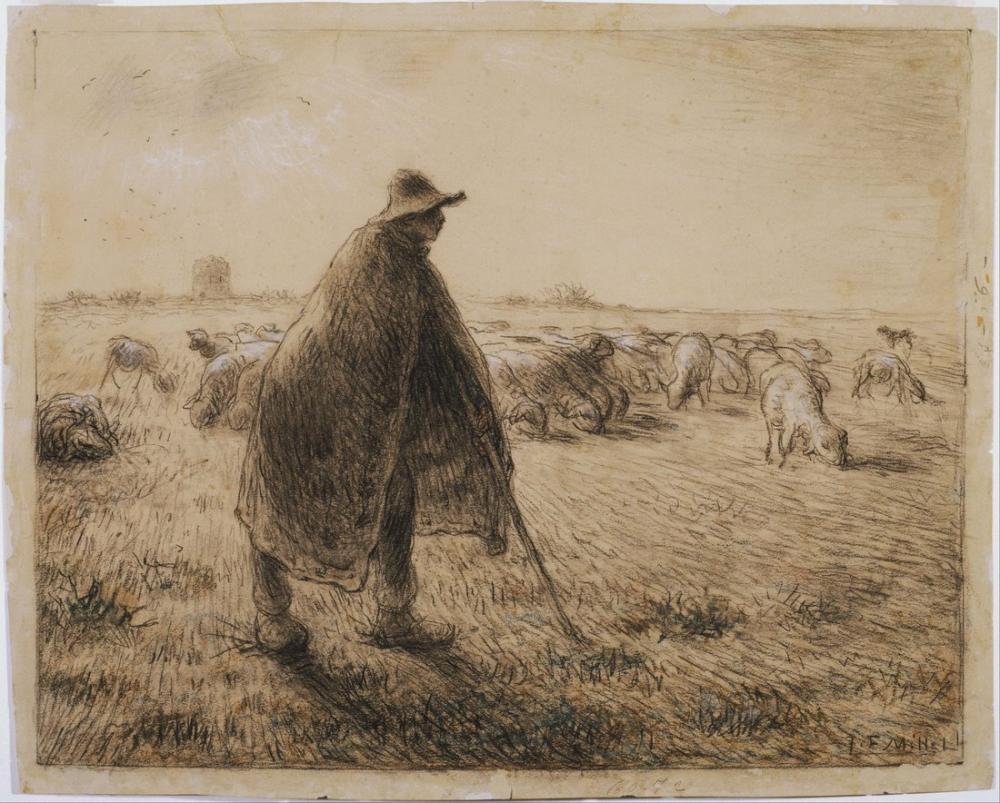 Jean François Millet Francois The Shepherd, Canvas, Jean François Millet, kanvas tablo, canvas print sales
