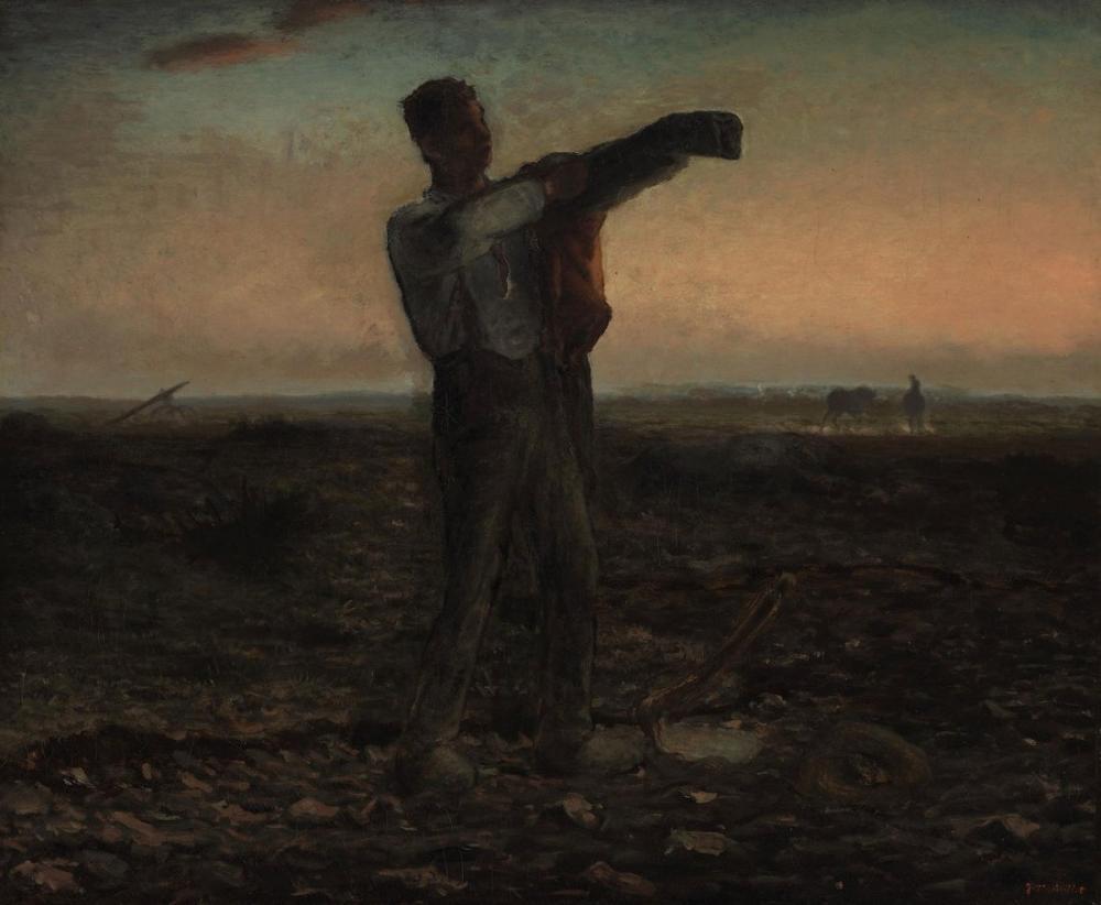 Jean François Millet La Fin De La Journee Effect Du Soir, Canvas, Jean François Millet, kanvas tablo, canvas print sales
