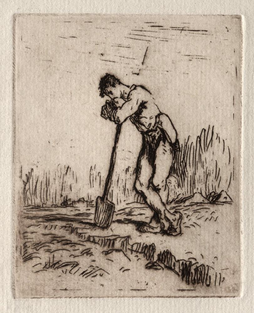Jean François Millet Man Leaning On A Spade, Canvas, Jean François Millet, kanvas tablo, canvas print sales