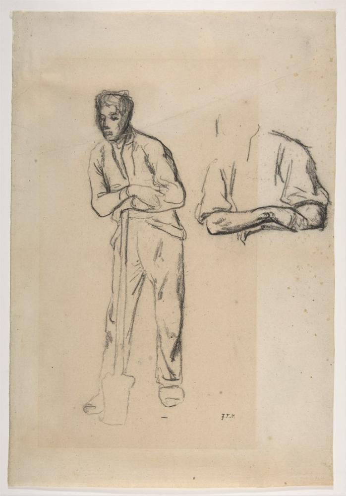 Jean François Millet Bir Kürek İle Adam, Kanvas Tablo, Jean François Millet, kanvas tablo, canvas print sales