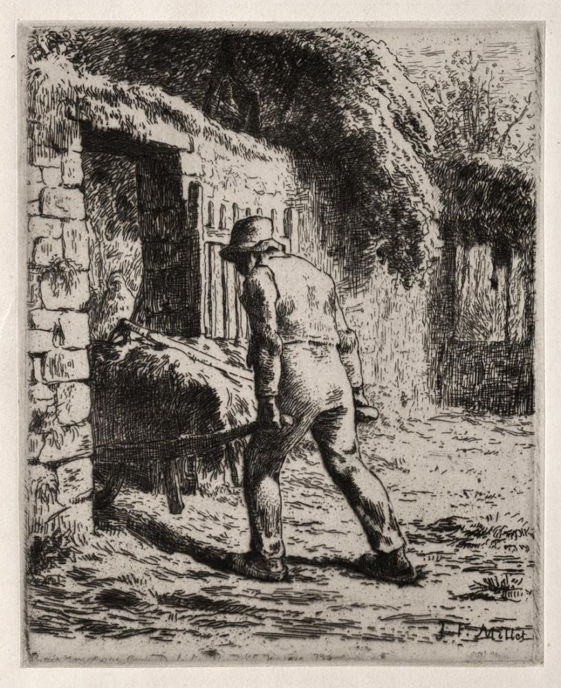 Jean François Millet Gübre Yığınından Dönen Köylü, Kanvas Tablo, Jean François Millet, kanvas tablo, canvas print sales