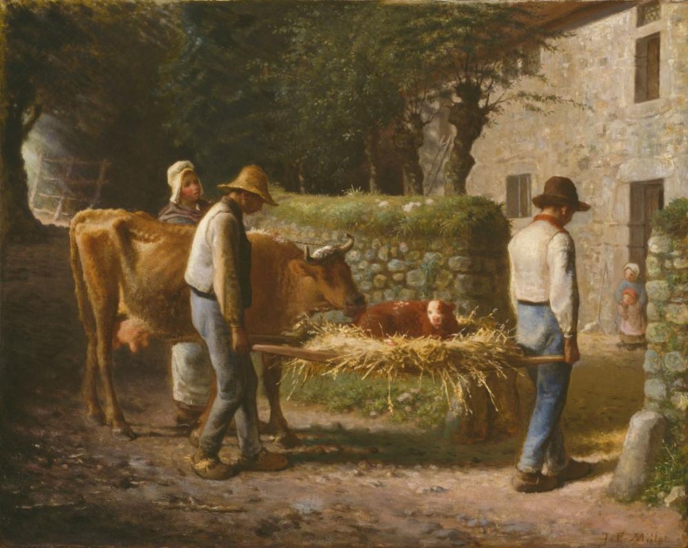 Jean François Millet Tarlada Doğmuş Bir Danayı Eve Getiren Köylüler, Kanvas Tablo, Jean François Millet, kanvas tablo, canvas print sales