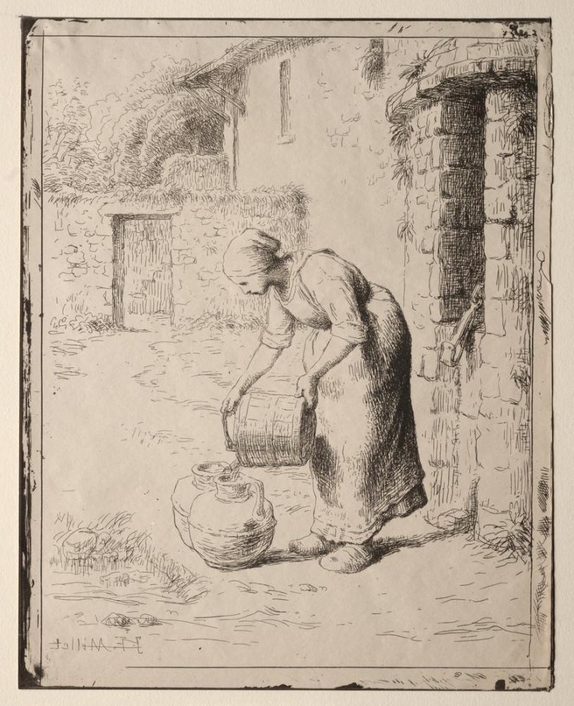 Jean François Millet A Woman Emptying A Bucket, Canvas, Jean François Millet, kanvas tablo, canvas print sales
