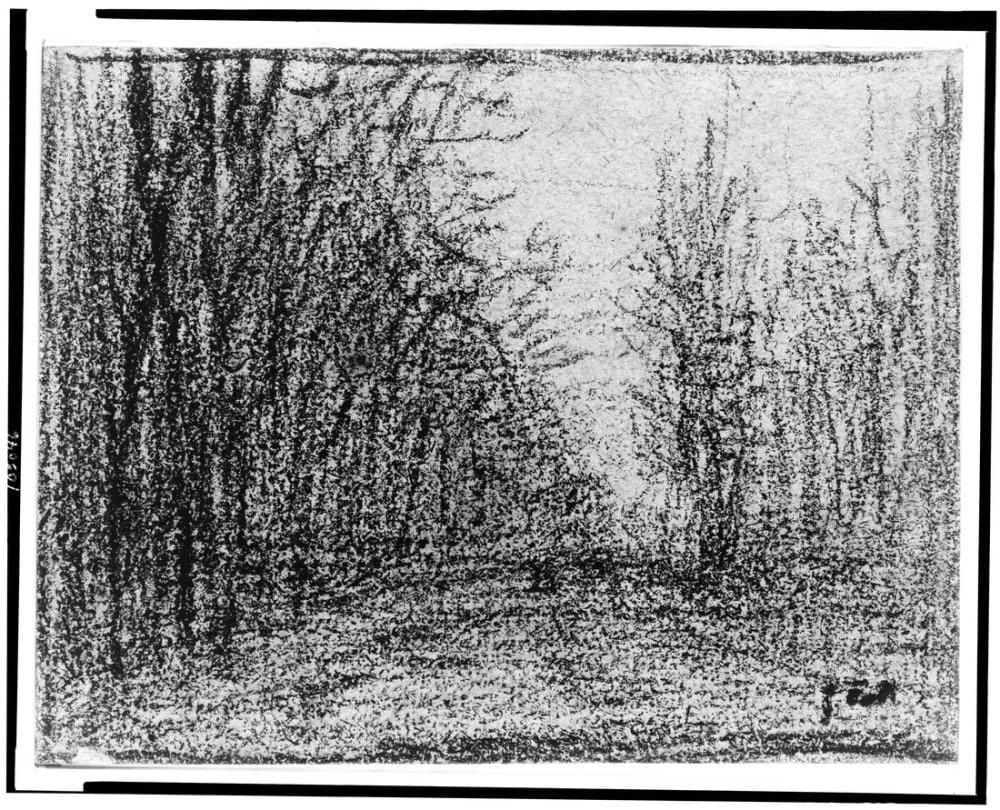 Jean François Millet Karayolu İle Ağaçları, Kanvas Tablo, Jean François Millet, kanvas tablo, canvas print sales