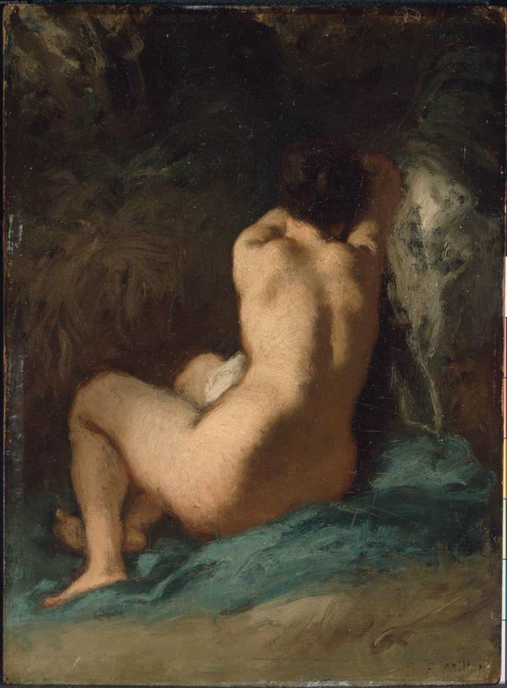 Jean François Millet Oturan Çıplak, Kanvas Tablo, Jean François Millet, kanvas tablo, canvas print sales