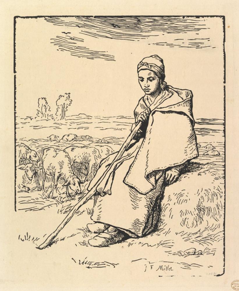 Jean François Millet Oturan Çoban, Kanvas Tablo, Jean François Millet, kanvas tablo, canvas print sales