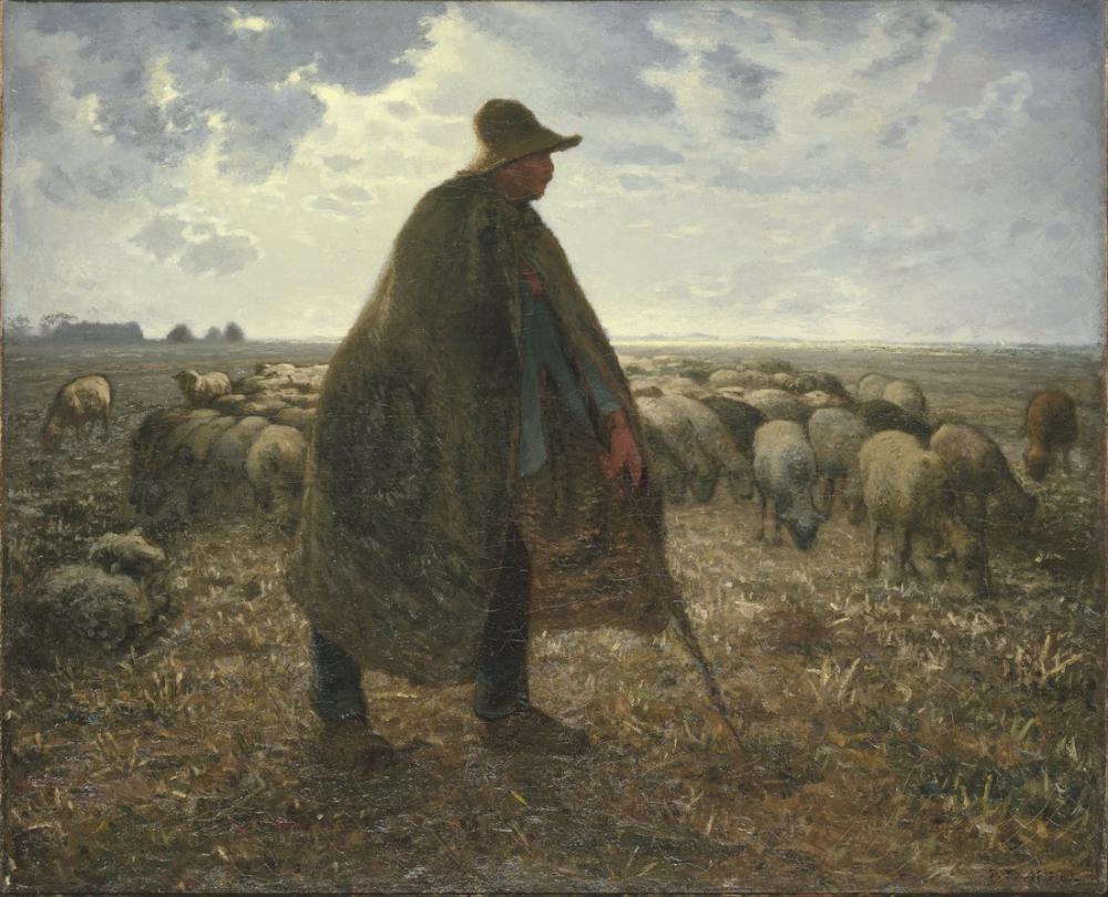 Jean François Millet Sürüsüne Bakan Çoban, Kanvas Tablo, Jean François Millet, kanvas tablo, canvas print sales