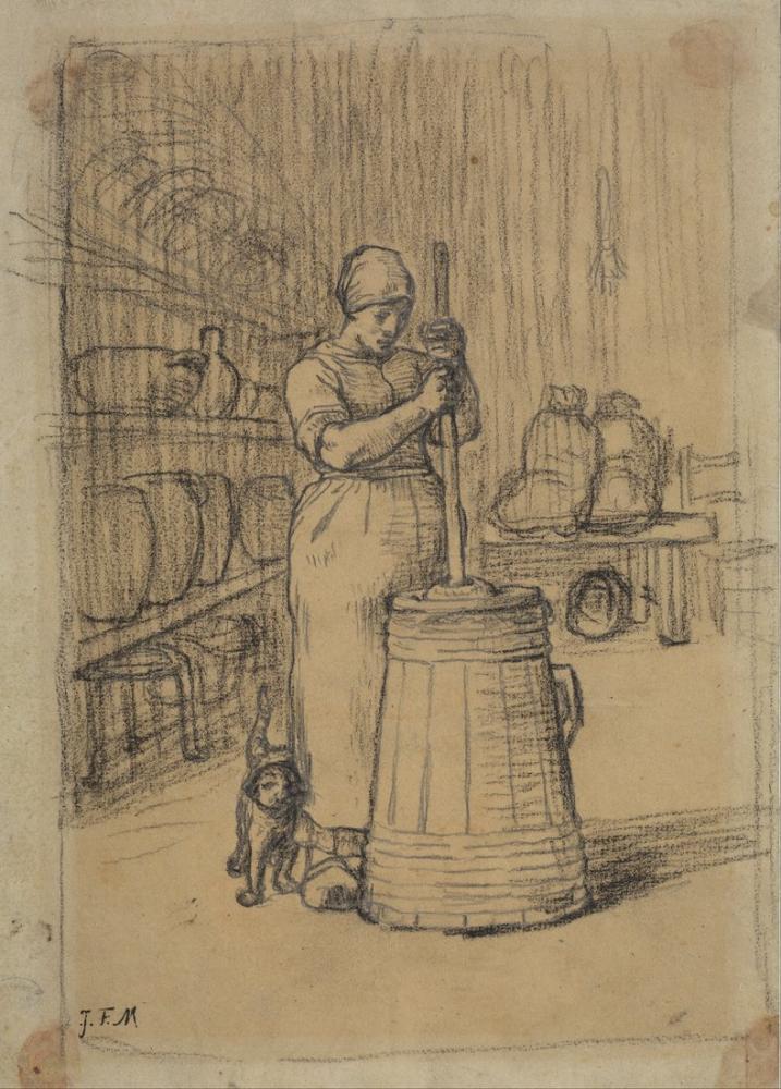 Jean François Millet Kadın Ezme Tereyağı Çalışması, Kanvas Tablo, Jean François Millet, kanvas tablo, canvas print sales