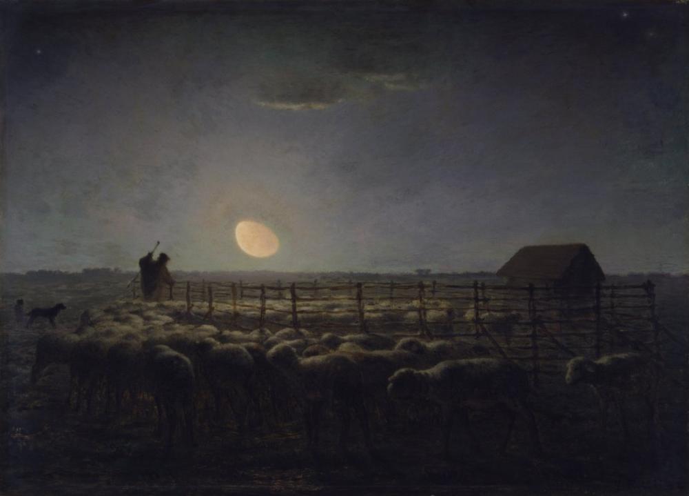 Jean François Millet  Ağıl Ay Işığı Walters, Kanvas Tablo, Jean François Millet, kanvas tablo, canvas print sales