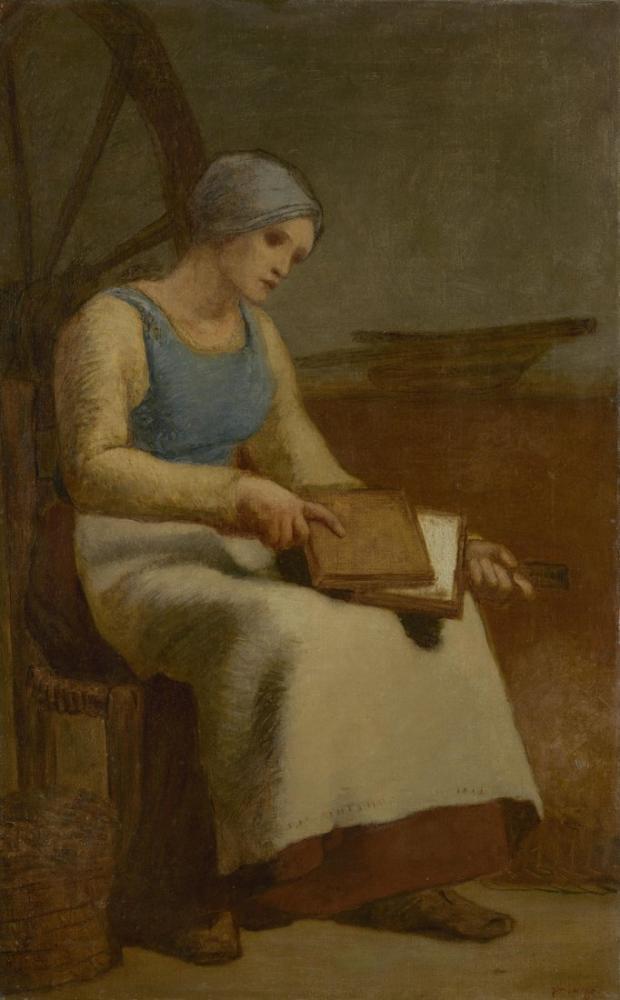 Jean François Millet Woman Carding Wool, Canvas, Jean François Millet, kanvas tablo, canvas print sales
