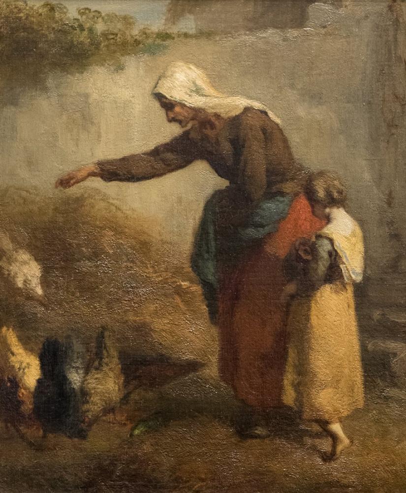 Jean François Millet Woman Feeding Chickens, Canvas, Jean François Millet, kanvas tablo, canvas print sales