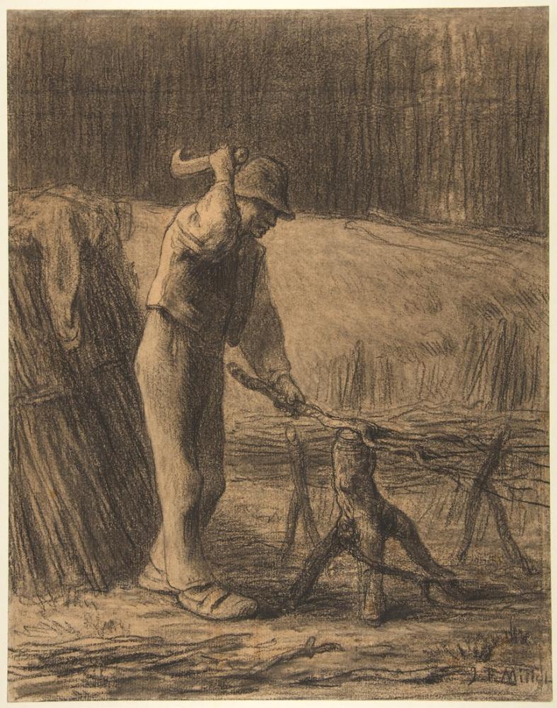 Jean François Millet Woodcutter Trimming Faggots, Canvas, Jean François Millet, kanvas tablo, canvas print sales