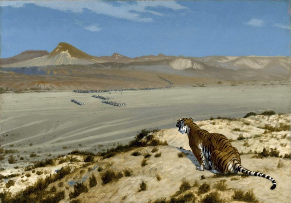Jean Leon Gerome Tiger On The Watch, Orientalism, Jean-Léon Gérôme, kanvas tablo, canvas print sales