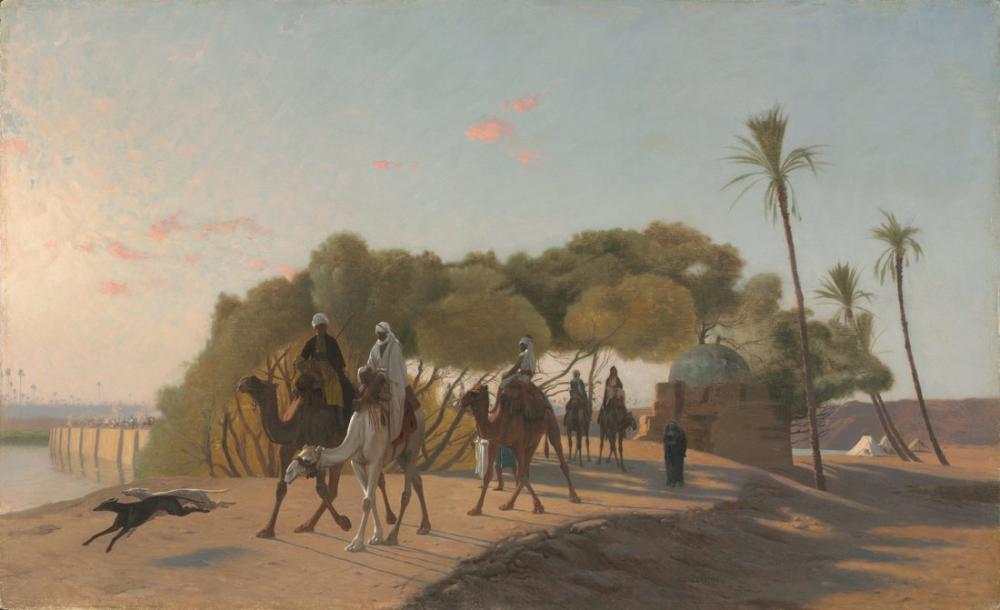 Jean Leon Gerome Leaving The Oasis, Orientalism, Jean-Léon Gérôme, kanvas tablo, canvas print sales
