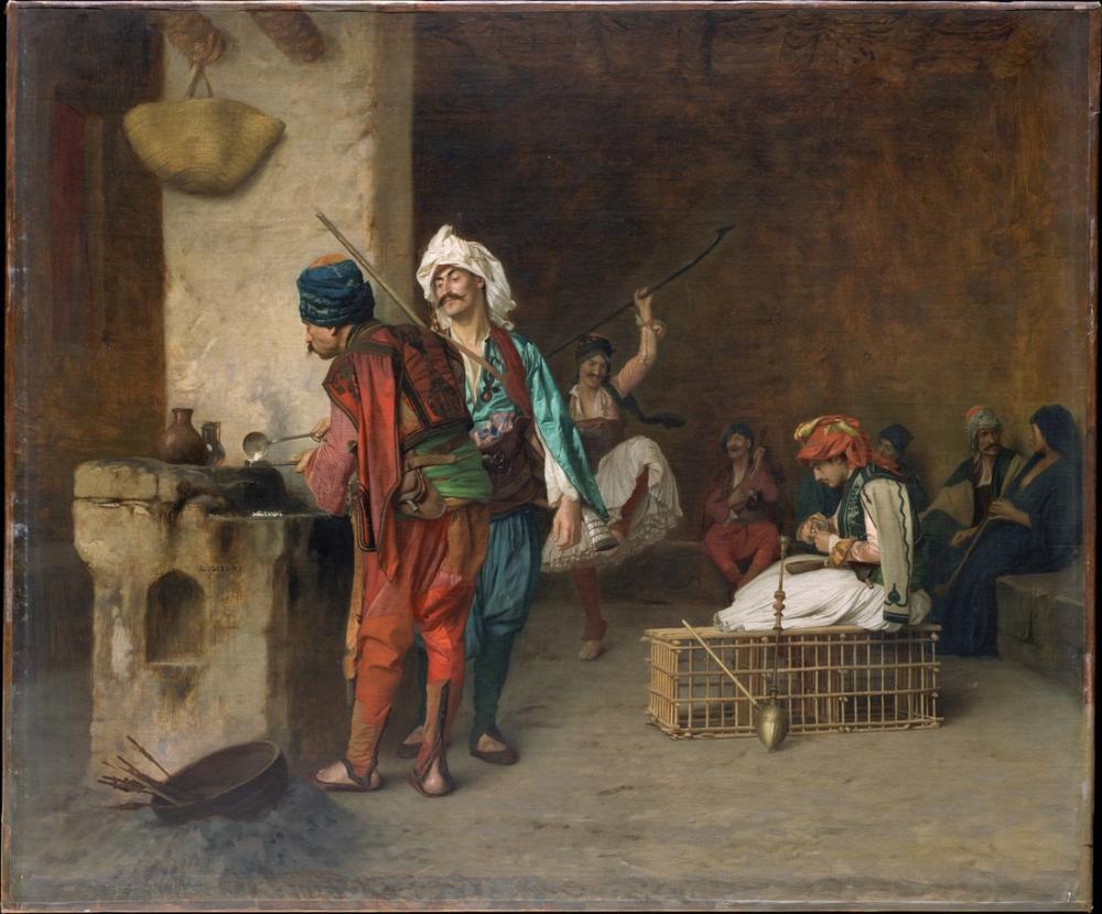 Jean Leon Gerome Cafe House Kahire, Oryantalizm, Jean-Léon Gérôme, kanvas tablo, canvas print sales