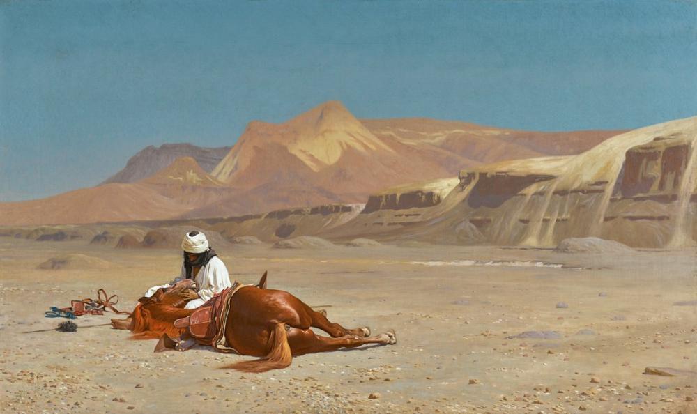 Jean Leon Gerome Binici Ve Çölde Onun Atı, Oryantalizm, Jean-Léon Gérôme, kanvas tablo, canvas print sales