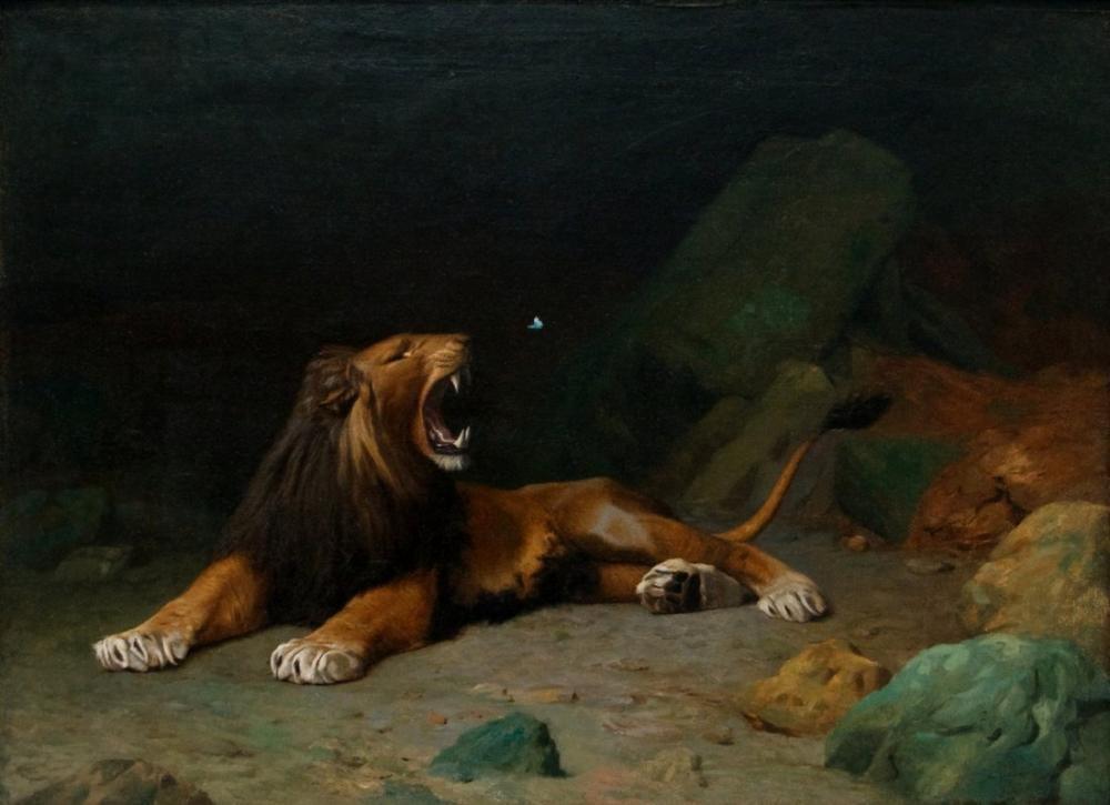 Jean Leon Gerome Lion Snapping At A Butterfly, Orientalism, Jean-Léon Gérôme, kanvas tablo, canvas print sales