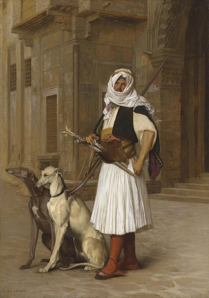Jean Leon Gerome Arnault And Two Whippets, Orientalism, Jean-Léon Gérôme, kanvas tablo, canvas print sales