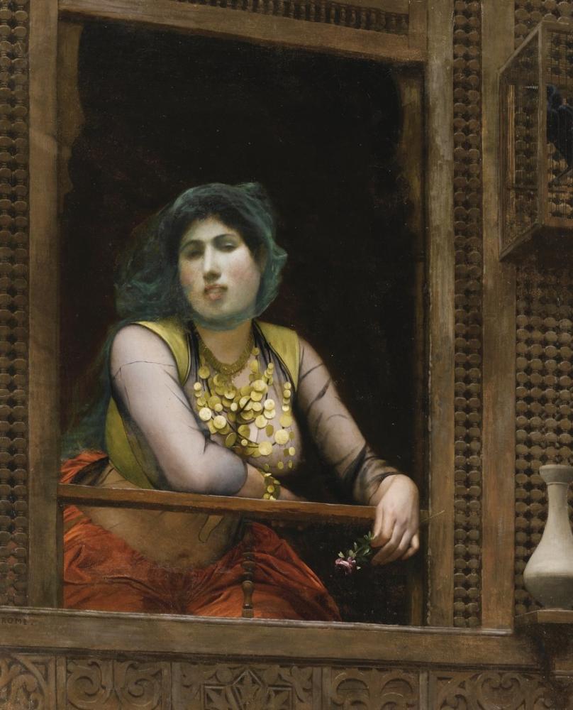 Jean Leon Gerome Woman At A Balcony, Orientalism, Jean-Léon Gérôme, kanvas tablo, canvas print sales
