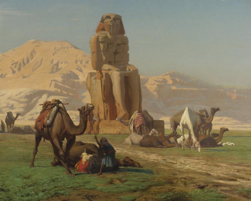 Jean Leon Gerome The Colossus Of Memnon Egypt Pharaoh Statue, Orientalism, Jean-Léon Gérôme, kanvas tablo, canvas print sales