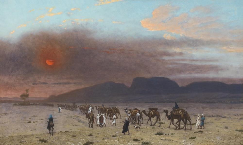 Jean Leon Gerome Çölde Karavan, Oryantalizm, Jean-Léon Gérôme, kanvas tablo, canvas print sales