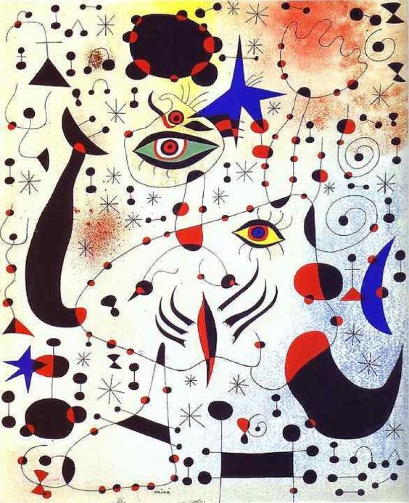 Joan Miro Kadına Aşık Şifreler Ve Takımyıldızlar, Kanvas Tablo, Joan Miro, kanvas tablo, canvas print sales