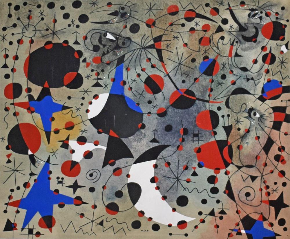 Joan Miro Gece Yarısı ve Sabah Yağmurunda Bülbülün Şarkısı, Figür, Joan Miro, kanvas tablo, canvas print sales