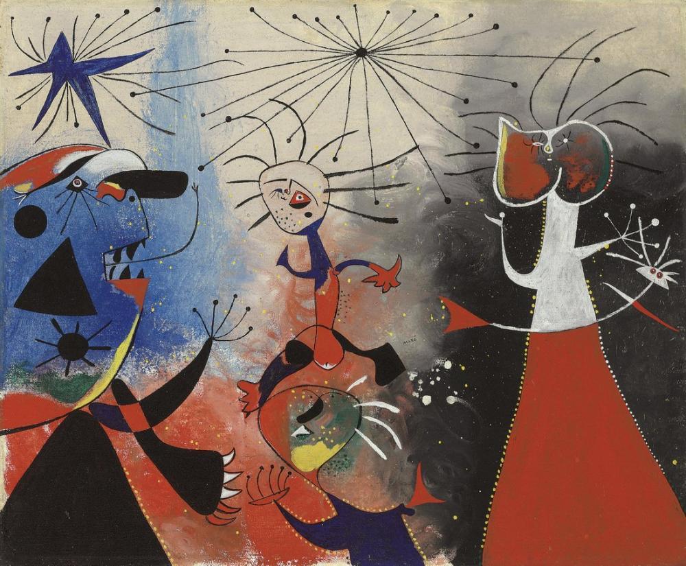 Joan Miro Yıldızların Okşama, Figür, Joan Miro, kanvas tablo, canvas print sales