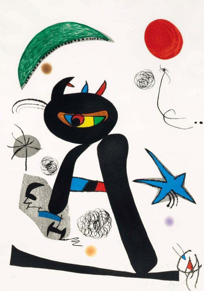Joan Miro Barbare Dans La Neige, Figure, Joan Miro, kanvas tablo, canvas print sales