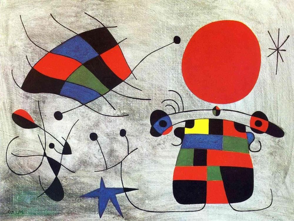 Joan Miro Alevli Kanatların Gülüşü, Figür, Joan Miro, kanvas tablo, canvas print sales