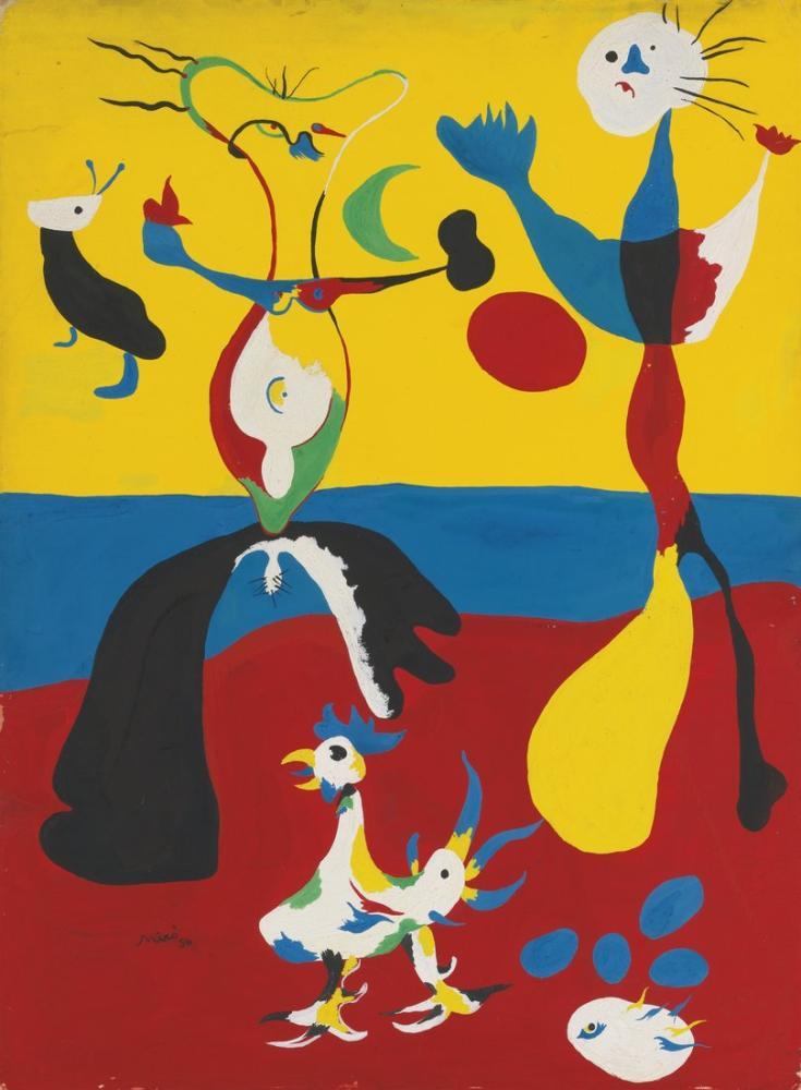 Joan Miro Çiftçi ve Karısı, Figür, Joan Miro, kanvas tablo, canvas print sales