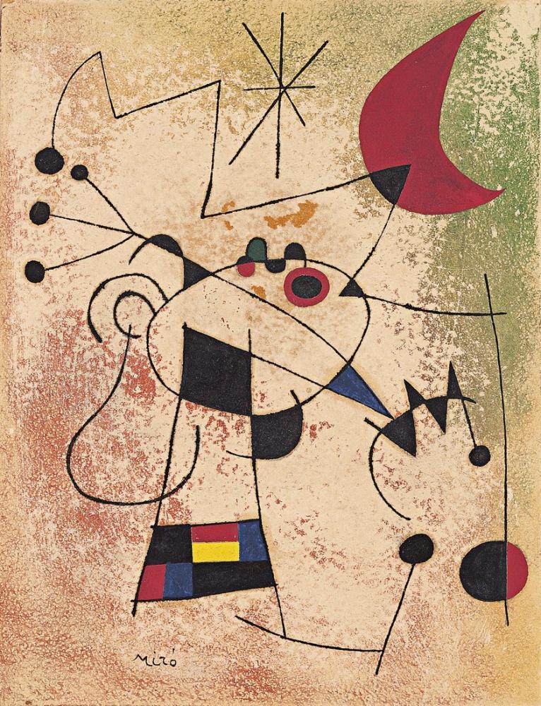 Joan Miro Yıldırım Kuşu Tarafından Kör Yıldırım Kuşu, Figür, Joan Miro, kanvas tablo, canvas print sales