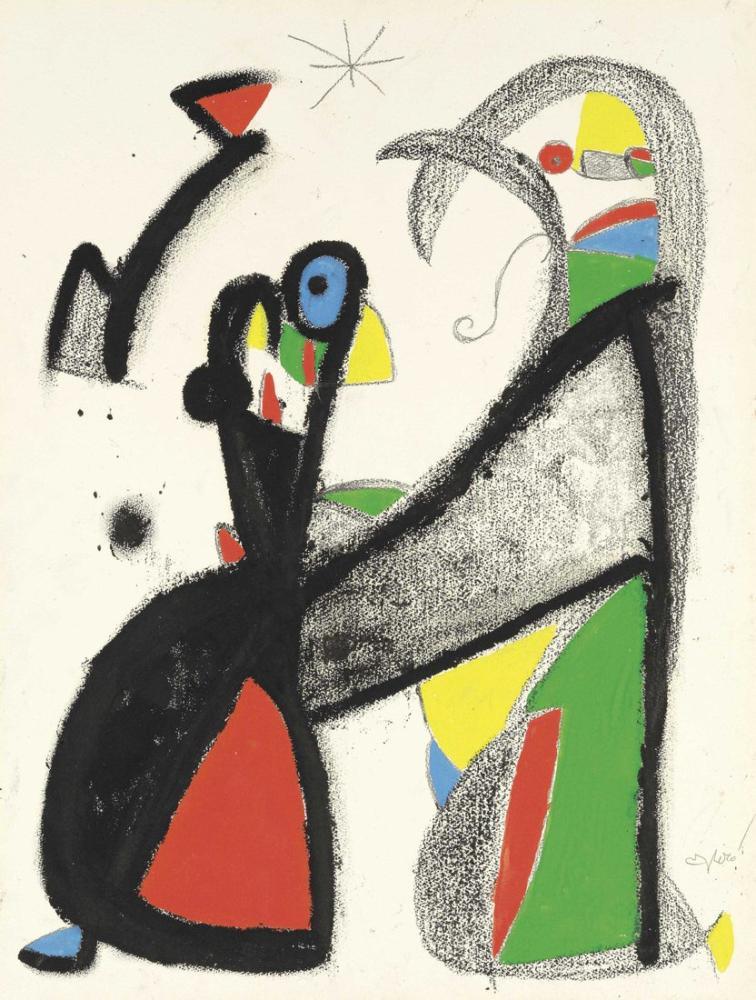 Joan Miro Kuş Seven Çifte Rehberlik Etmek İçin Yıldızla Konuşur, Figür, Joan Miro, kanvas tablo, canvas print sales