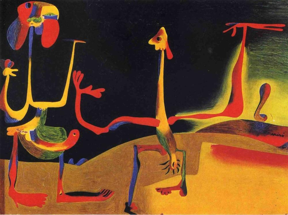 Joan Miro Erkek Ve Kadın Dışkı Yığını Önünde, Figür, Joan Miro, kanvas tablo, canvas print sales