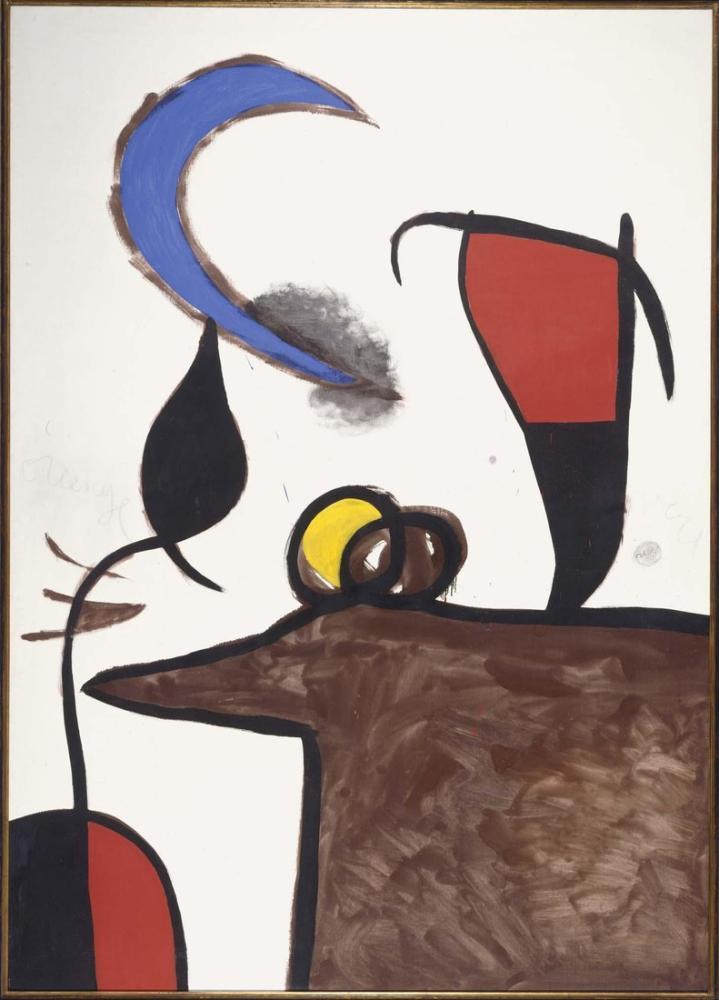 Joan Miro Kadın Ve Kuş, Figür, Joan Miro, kanvas tablo, canvas print sales