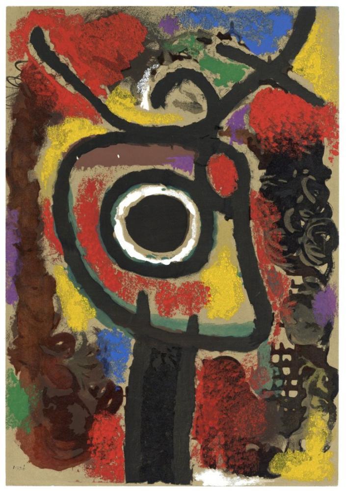 Joan Miro Karakter ve Kuş Şablonu Taşları, Figür, Joan Miro, kanvas tablo, canvas print sales