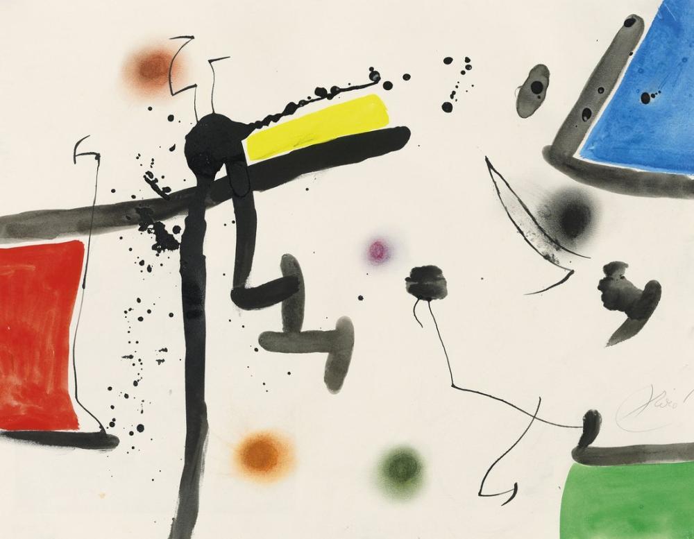 Joan Miro Bir Manzarada Karakter ve Kuşlar II, Figür, Joan Miro, kanvas tablo, canvas print sales