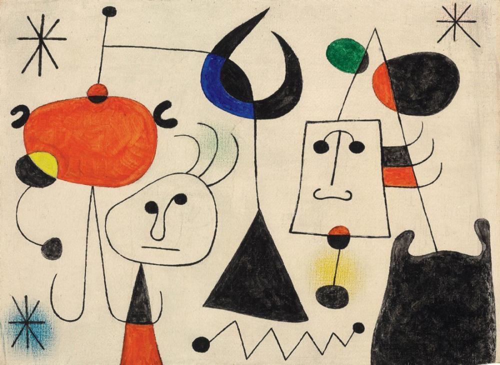 Joan Miro Personnages Et Oiseau Dans La Nuit, Figure, Joan Miro, kanvas tablo, canvas print sales
