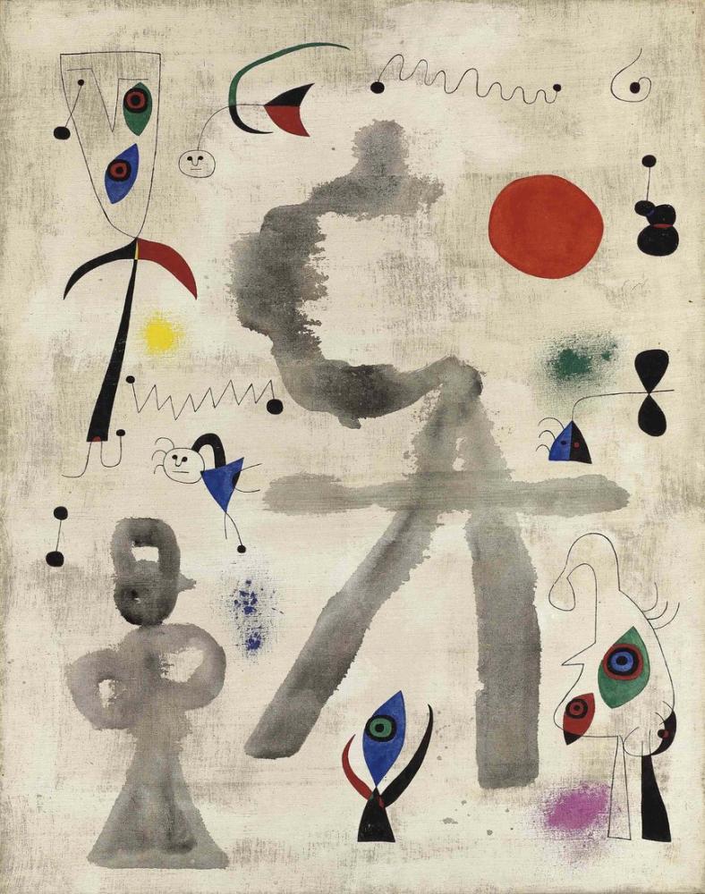 Joan Miro Güneşin Önünde Karakterler Ve Kuşlar, Figür, Joan Miro, kanvas tablo, canvas print sales
