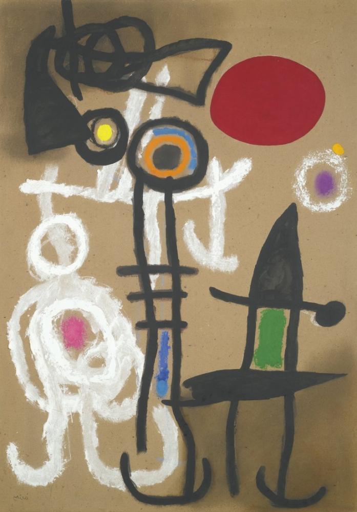 Joan Miro Güneşin Önündeki Karakterler ve Kuşlar II, Figür, Joan Miro, kanvas tablo, canvas print sales